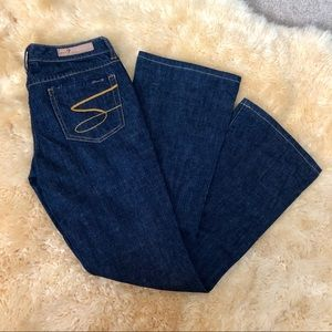 Seven7 classic flare dark wash denim blue jeans